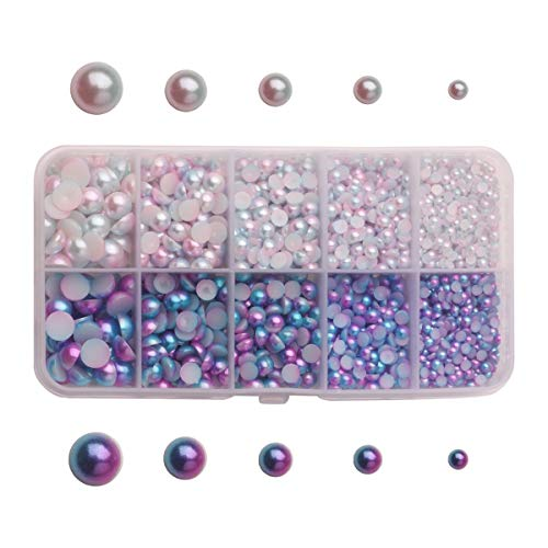 Meicry 3mm-8mm Half Round Imitation Pearls Beautiful Rainbow Color Beads Flatback DIY loosed Beads Cabochons for Scrapbooking Embellishment and Craft DIY Phone Nail Making (ab.3330piece)