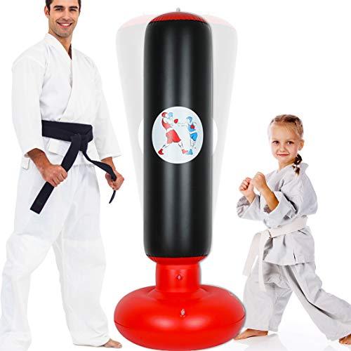 Saco de Boxeo de Pie, 160cm Inflable Saco de Boxeo niños , Saco Hinchable de Torre con Soporte para Objetivos de Fitness, Alivio del Estrés Sacos de Boxeo para Adultos