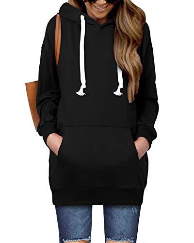 kenoce Long Hoodie Damen Mit Kapuzen Winter Pullover Damen Lang Oversize Pulloverkleid Herbstkleid Langarm Mit Taschen Sweatshirt Große Größen Schwarz M