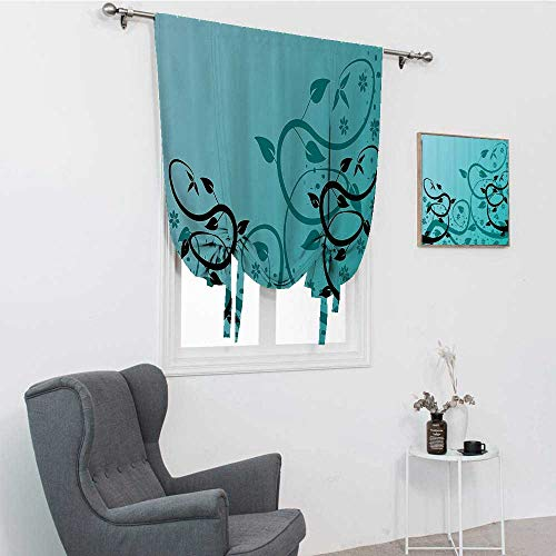"""GugeABC Teal Decor Collection Short Curtains, an Abstract Floral Modern Illustration with Winding Tendrils Leaves Vines and Flowers Window Valance Balloon Blind, Black Teal, 42"""" x 72"""""""