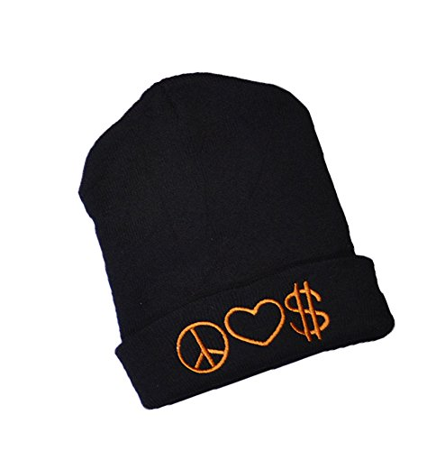 KGM Accessories New de Haute qualité Peace Love $ brodé Bonnet Noir
