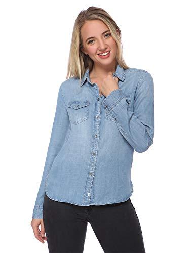 Blusa vaquera de manga larga con botones para mujer, color azul, Mezclilla clara, M