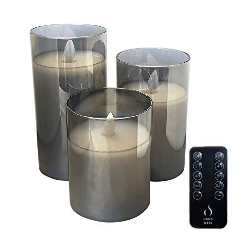 HONONARI LED キャンドルライト Glass Gray 専用リモコン付 3点セット
