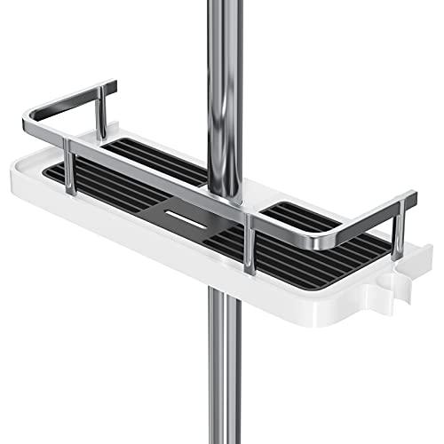 Duschablage, Ohne Bohren Duschablage für die Duschstange, Badezimmer Dusche Rack Verstellbar Höhe,für Duschstange mit Durchmesser von 18mm - 25mm