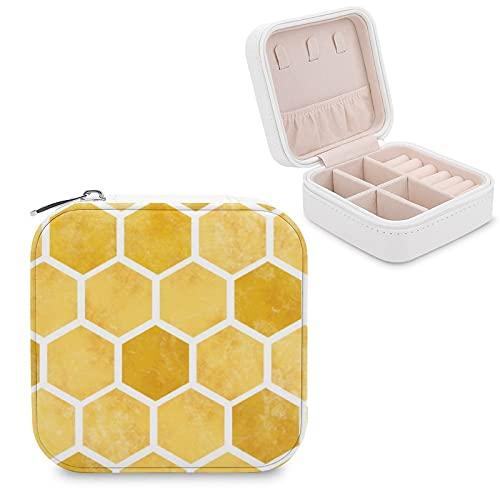 Organizador de joyas de viaje para niñas y mujeres, caja de almacenamiento portátil con forma de panal de abeja, para anillos, pendientes, collares