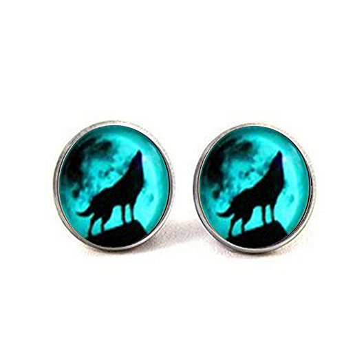 qws Moon Wolf Earrings Glow in The Dark After Uv Absorption Earrings Noctilucent Earrings Friendship Love Gifts Unique Lovers Gifts