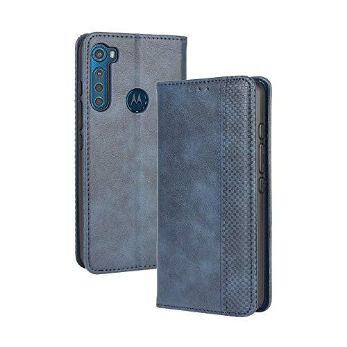 LAGUI Kompatible für Motorola One Fusion Plus Hülle, Leder Flip Hülle Schutzhülle für Handy mit Kartenfach Stand & Magnet Funktion als Brieftasche, Blau