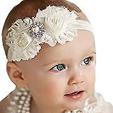 Baby Girl Chic Headband - Chiffon Lace Headwear with Flower Bows for Newborn Infant Toddler Girls Princess Headbands Head Wrap with Pearl Boho Hair Band Turban Cute Elastic Bow Holder Hair Accessories