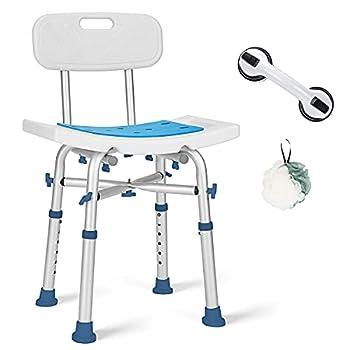 GreenChief 500lb Adjustable Shower Chair with Back Heavy Duty EVA Padded Bath Seat Free Assist Grab Bar Medical Tool Free Anti-Slip Shower Bench Bathtub Stool for Elderly Senior Handicap & Disabled