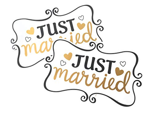 Toysdone 2 Pack/Just Married Ornate Car Magnets, 12 x 7.5, Honeymoon, Car Sign, Door Panel, Rear Tailgate, Matrimony