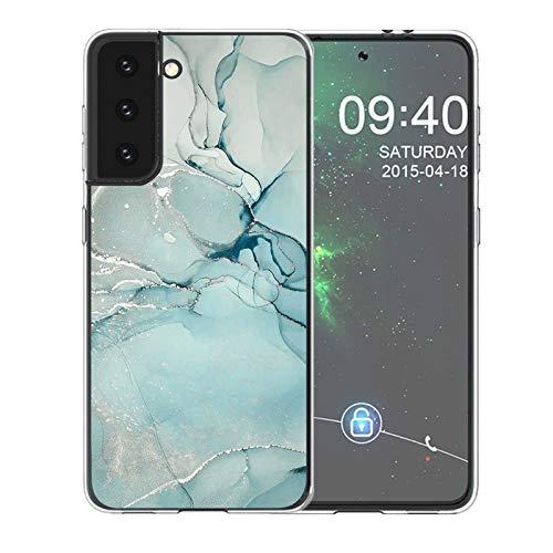 Lavender1 Funda para Samsung Galaxy S21 Plus 5G, carcasa de mármol ultra híbrida, funda para Galaxy S21 Plus, suave transparente, silicona TPU, funda compatible con Samsung S21 Plus Verde esmeralda 42