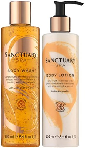 (2 PACK) Sanctuary Spa Cleansing Burst Body Wash 250ml & Sanctuary Spa Silky Smooth Body Lotion 250ml by Sanctuary Spa Covent Garden