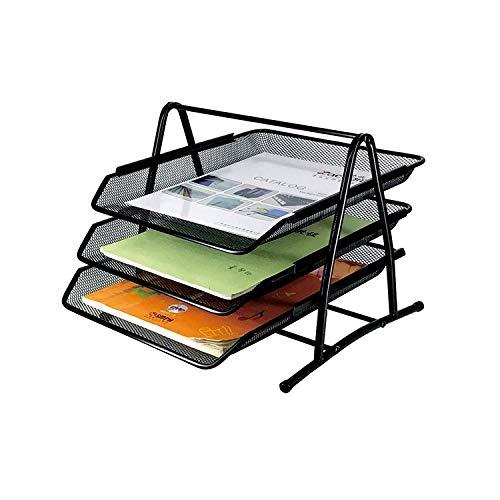 Stelan Bandeja para cartas porta documentos organizador escritorio con 3 niveles de malla metálica color negro