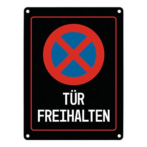 Tür freihalten Warn- und Hinweisschild in Schwarz mit Piktogramm