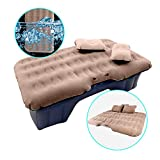 HIRALIY Car Air Mattress for Back Seat Inflatable Car Mattress Portable Travel Camping Mattress Sleep Bed for Road Trip Universal SUV Blow Up Mattress with 2 Air Pillow Electric Air Pump
