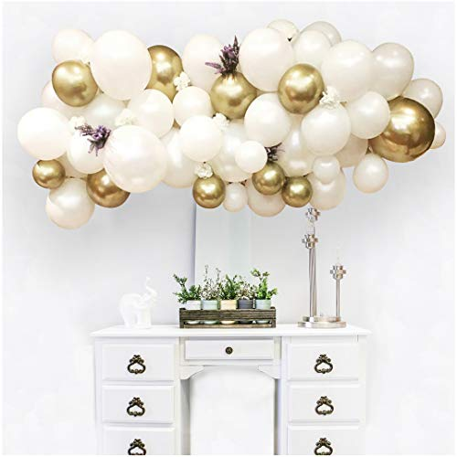 100 Pcs Chrome Pearl White & Metallic Gold Latex Balloons Arch & Garland Kit for Wedding, Baby Shower Party Decorations