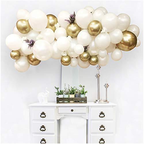 FRUOR 100 Stück Chrom Perlweiß und Metallic Gold Latex Luftballons Arch & Garland Kit für Hochzeit, Babyparty Party Dekorationen