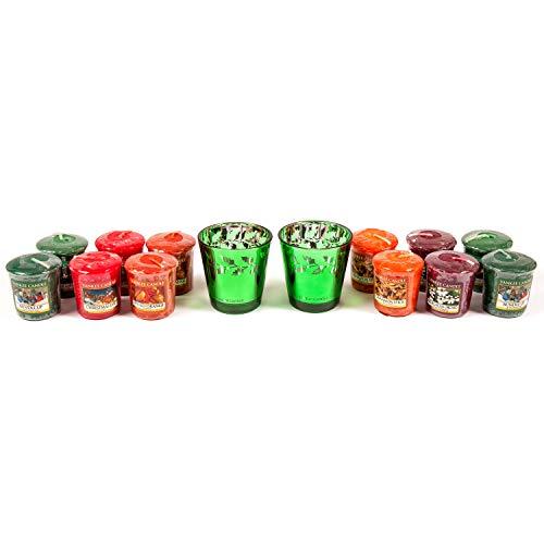 YANKEE CANDLE - Juego de 2 portavelas de Cristal con Forma de Vela y Agujero Verde, diseño Moderno, Incluye 12 muestras de fragancias aromáticas