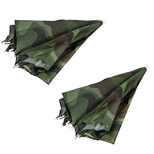EElabper Bewegliche Faltbare Regenschirm Hut wasserdicht Sonnenschirm Regenschirm Hut Fischen Camping Kopfbedeckung Cap Beach Head 2ST Camouflage Hüte