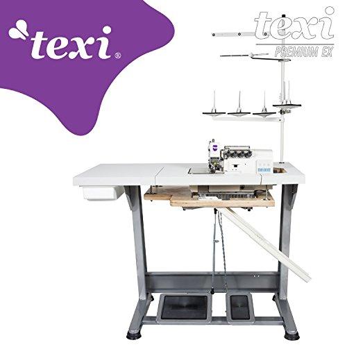 TEXI Overlock Industrienähmaschine - 5 Faden / 2 Nadel Industrie Industrielle Nähmaschine - Komplett (mit Tisch & Gestell)