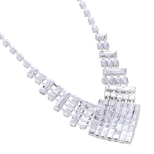 ZHDXW Collar de plata con diamantes de imitación para mujer, colgante de boda, joyería de novia, collar geométrico