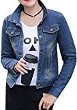 Women Casual Stretch Fitted Slim Pockets Long Sleeve Denim Jackets