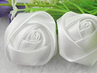 YAKA 20pcs Handmade stereo Fabric Rose Flowers for DIY Headdress Flowers Headbands Clips,Rose Wedding Decor Hair Bow Appliques Craft Sewing Accessories (White)