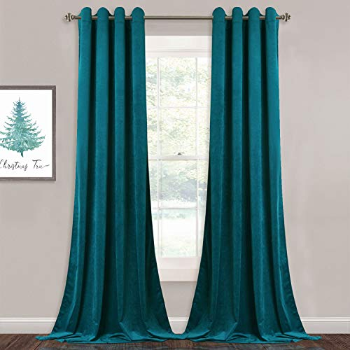 StangH Teal Velvet Curtains Blackout - Heavy-Duty Thermal Insulated Drapes Home Decor for Farmhouse Living Room/Villa Window, 52 by 84-Inch, 2 Panels