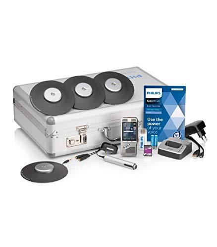Philips DPM8900/02 Meeting-recorderset, digitaal dicteerapparaat incl. 4 grensmicrofoons voor 360° geluidsopname, incl. Speechechechechechechte-Basic 2-jaar-abonnement