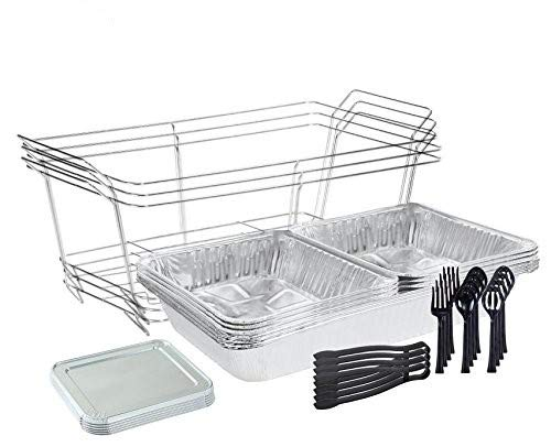 Tiger Chef Chafing Dish Buffet Set Disposable - Full Size Disposable Wire Chafer Stand Kit - 30-Piece Catering Set for Parties Includes Chafer Pans Disposable Serving Utensils