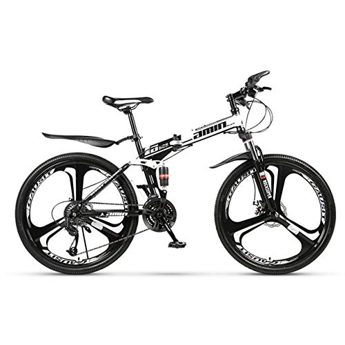 QXue 24 Inches Mountain Bike for Men and Women, High Carbon Steel Dual Suspension Frame Mountain Bike, Variable Speed Wheel Folding Outroad Bike,White,27 Speed