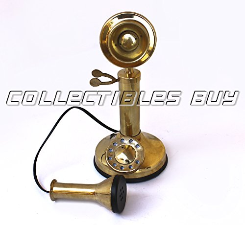 A Decorative Small Candle Stick Telephone Brass Finish Rotary dial Vintage Model Ornament Collection