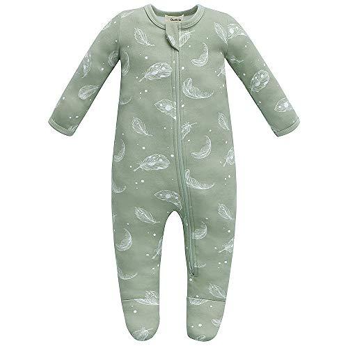 Owlivia Organic Cotton Baby Pajamas, Boys Girls Zip Front Sleep 'N Play, Footed Sleeper, Long Sleeve (0-3 Months, Feather)