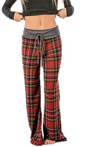 Pantalones de Pijama de Mujer, pantalón de Pijama de Cuadros Pantalones de tartán elásticos