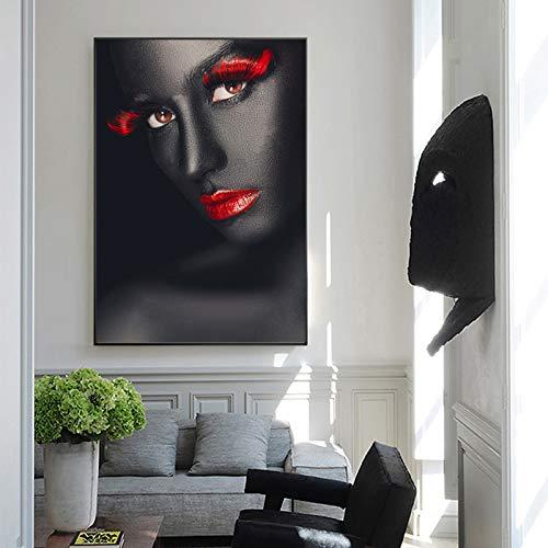 Geiqianjiumai Schwarze Frauen rote Lippen Poster und Drucke Leinwand Wandbilder nordischen Stil abstrakte Porträt Wandkunst Wohnzimmer rahmenlose Malerei 40x60cm