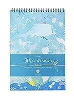 ドローイングパッドA3アーティストドローイングブック耐久性のある酸を含まないスケッチ用紙、子供と大人に最適-A3-青い夢1