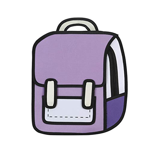 WT-DDJJK Mochila Escolar, Mochila de Dibujo 2D para Mujeres Creativas Mochila Escolar de Dibujos Animados Mochila para niñas Adolescentes