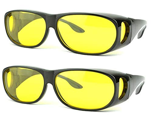 SOOLALA 2 Pairs Value Pack HD Night Vision Wraparounds Wrap Around Windproof Sunglasses