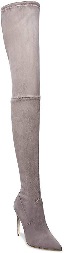 Steve Madden Women's Dominique Thigh High Over-The-Knee Boot Dress,Dark Grey