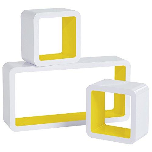 WOLTU RG9229gb Mensole da Muro Mensola a Cubo Scaffale Parete Libreria CD Legno MDF Moderno 3 Pezzi Diametro Diverso Giallo-Bianco