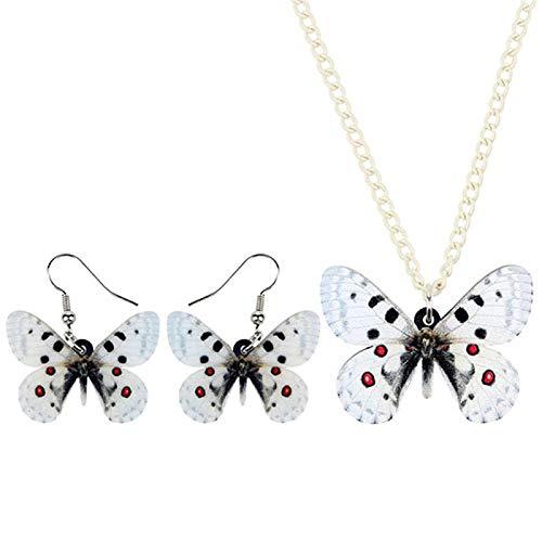 Collar Acrílico De La Joyería De Los Pendientes del Collar De La Mariposa del Collar De La Manera Pendiente For Las Mujeres Decoración Niña Collares de Mujer Hyococ (Color : A)