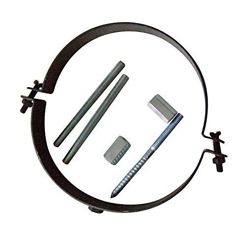 Kamino Flam Rohrhalterung gussgrau, Rohrschelle inklusive Schraubenset zur Montage, Halterung aus Stahl mit hitzebeständiger Senotherm® Beschichtung, Maße: ca. Ø 120 mm