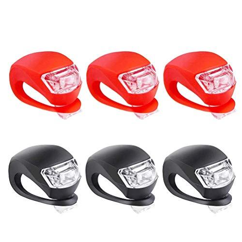 Fahrradleuchten vorne und hinten, 6Pcs Silikon-LED-Fahrradlicht Nachtfahrsicherheitswarnung Frosch Geometrisch vorne hinten Rücklicht Fahrradzubehör Fahrradlampe