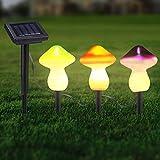 Luz Solar De Setas, Luces De Cadena Decorativas De Jardín Solar Exterior, Conjunto De 3 9leds Luces De Estaca Solar Patio Patio Decoración De Arte Césped Adornos (3 Piezas Color)