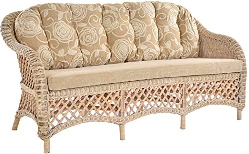 Krines Home Edles Wohnzimmer Rattan-Sofa 3-Sitzer Korbsofa Wintergarten Couch Rattansofa Sofa aus echtem Rattan
