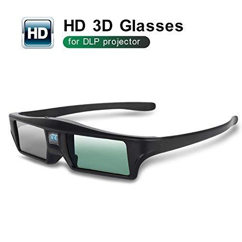 Foluu 3D-Brille DLP Active Shutter 3D-Brille Wiederaufladbar Hi-Brightness Kontrast Kompatibel mit allen 3D-DLP-Projektoren
