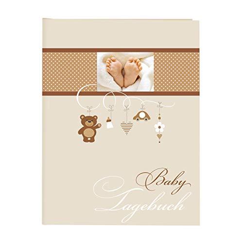 goldbuch 11237 Babytagebuch Litte Mobile, 21 x 28 cm, Tagebuch für Neugeborene, Baby Erinnerungsalbum mit 44 illustrierte Seiten, Einband mit Kunstdruck mit UV-Lack, Album in Beige
