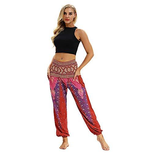URIBAKY - Pantalones de Yoga para Hombre y Mujer, Estilo Bohemio Rojo 32 ES/S