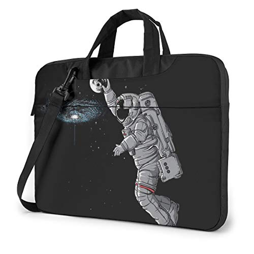 Shockproof Laptop Bag Astronaut Moon in Galaxy Funny Durable Case Sleeve Cushion Protective Laptop Briefcase