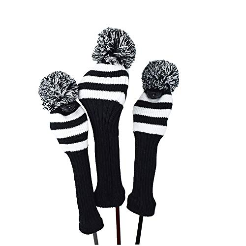 Hauni Stripes Knitted Golf Club Head Covers 3 Piece Set 1 3 5 Driver and Fairway HeadCovers Fits...